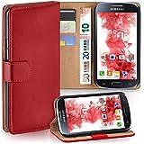 Samsung Galaxy S4 Mini Hülle Rot mit Karten-Fach [OneFlow 360° Book Klapp-Hülle] Handytasche Kunst-Leder Handyhülle für Samsung Galaxy S4 Mini Case Flip Cover Schutzhülle Tasche