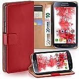 moex Samsung Galaxy S4 Mini | Hülle Rot mit Karten-Fach 360° Book Klapp-Hülle Handytasche Kunst-Leder Handyhülle für Samsung Galaxy S4 Mini Case Flip Cover Schutzhülle Tasche
