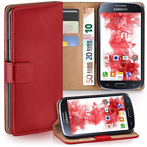 Cover S4 Rot Samsung Flip (Samsung Galaxy S4 Mini Hülle Rot mit Karten-Fach [OneFlow 360° Book Klapp-Hülle] Handytasche Kunst-Leder Handyhülle für Samsung Galaxy S4 Mini Case Flip Cover Schutzhülle Tasche)