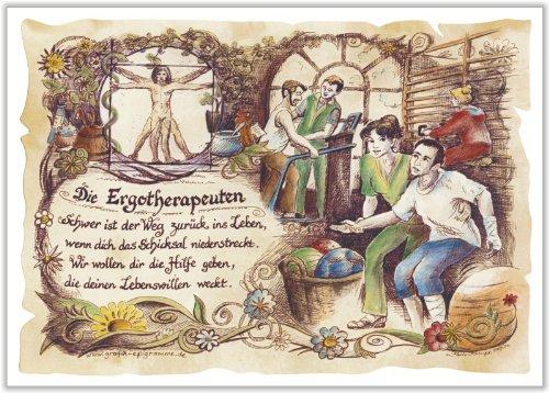 Geschenk Ergotherapeuten Ergotherapeut Ergotherapie Zeichnung Color 30 x 21 cm