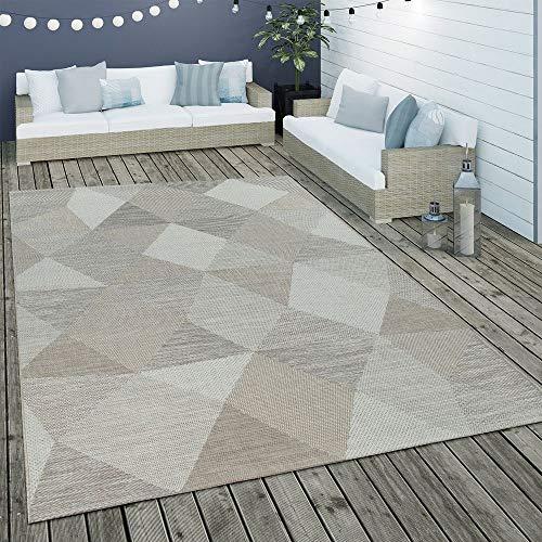 Paco Home In- & Outdoor Flachgewebe Teppich Geometrisch Muster Rauten Muster In Beige, Grösse:160x230 cm - Home Trends Geometrischen Teppich