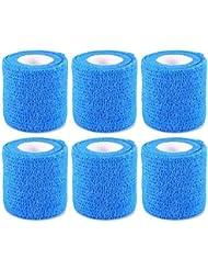 6 rollos vendaje autoadhesivo vendaje elástico de deportes azul 5 cm, 4,6 m