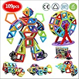 infinitoo 109 pcs Magnetic Building Blocks  3D Magnetic Construction Rainbow Kit  STEM Building Block Creative Educational Gift for Boys Girls  Magnetic Tiles Set for Kids Toddlers for Edutainment