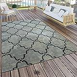 Paco Home In- & Outdoor Terrassen Teppich Modern Morokkanisches Muster Vintage Optik Grau, Grösse:60x100 cm