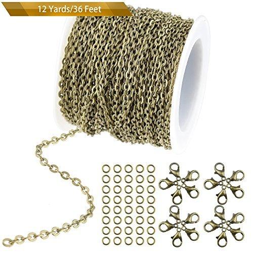 Wxj1336piedi/11m placcato color bronzo rotondo cavo catena con 20chiusure e 30anelli per collana accessori di gioielli fai da te making, 2.5mm di larghezza