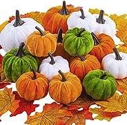 Fovths 15 Pack Artificial Velvet Halloween Pumpkins Colorful Decorations Including 50 Pieces Artificial Maple