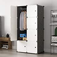 Cube Wardrobe Cloth Cabinet Cupboard Closet DIY Modular Clothing Storage Organizer 5 Cubes 1 Hanging Section Portable Sturdy