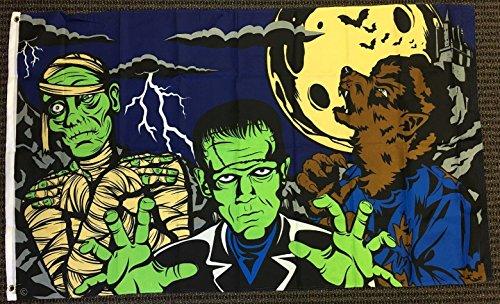 3x5 Monster Fright Night Halloween Flag Frankenstein Mummy Werewolf Full Moon (Monster Halloween Night Party)