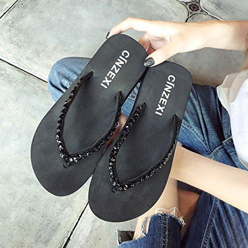 ZHANGRONG-- Pantofole donna estate moda indossare antiscivolo con suole spesse scarpe da spiaggia in pendenza con sandali a cartella ( Colore : B , dimensioni : 36 ) A