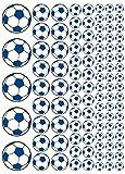 100 Aufkleber, Fußball, Sticker, 15-50 mm, weiß/blau, aus PVC, Folie, bedruckt, selbstklebend, EM, WM, Bundesliga