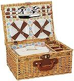 Florencia 4 persona picnic Cesta con los accesorios y el estilo tradicional de la manta púrpura