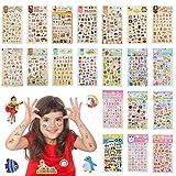 YOTINO 20 Hojas Pegatinas para Niños 3D 1500 Patrones Ricos Incluidos los Animales, Peces, Letras, Plantas más para DIY Decoration Scrapbooking