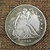 LingDong Morgan Silber-Dollar-Münzen zum Sammeln von Silber-Dollar USA-Altes Original Pre Morgan Dollar Münzen PerfectShop, 1840, Einheitsgröße