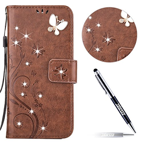 iPhone 6S Custodia in Pelle, iPhone 6 Cover Portafoglio, JAWSEU Goffratura Arts Farfalla Diamante Disegno [Shock-Absorption] Libro Folio PU Leather Wallet Case Cover per iPhone 6/ 6S Protettiva Bumper Farfalla Diamante, Marrone
