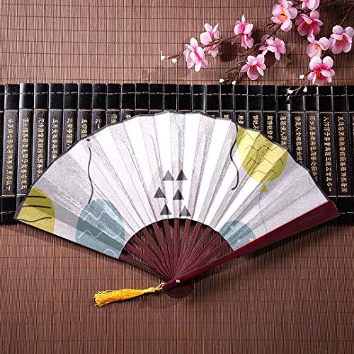nd Fan Luftballons von blau gelb lila Farben mit Bambus Rahmen Quaste Anhänger und Stoffbeutel Faltfächer Werk chinesischen Fan mit Griff Handfächer billig ()