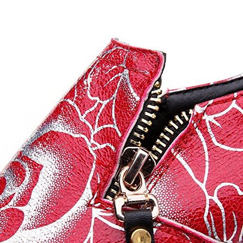 AllhqFashion Femme Matière Mélangee Couleurs Mélangées Zip Rond à Talon Bas Chaussures Légeres Rouge