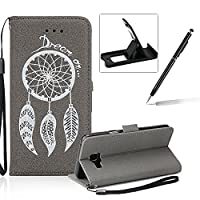 Leather Case for Samsung Galaxy A3 2016 A310,Strap Flip Wallet Cover for Samsung Galaxy A3 2016 A310,Herzzer Luxury Stylish Shining Bling Glitter Dreamcatcher Design Gray PU Leather Stand Card Holder and ID Slot Money Pouch Magnetic Clasp Slim Flip Protec