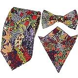 Mode para caballero corbatas finas florales + Lazo pré-attaché + pañuelo cuadrado de bolsillo...
