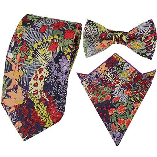 Mode para caballero corbatas finas florales + Lazo pré-attaché + pañuelo cuadrado de bolsillo para boda multicolor