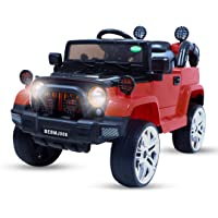 BAYBEE Red Rechargeable Battery Operated Rubber EVA Wheels Ride on car with Remote Control for Boy's and Girl's ( 2 - 5…