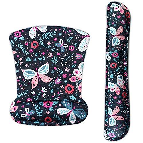 cheliz Tastatur Handgelenk Rest Pad und Maus Handgelenkauflage Maus Pad-langlebig und komfortabel & leicht für einfaches Tippen & Schmerzen relief-ergonomic Unterstützung mouse pad Black Butterfly - Tastatur-handgelenk-rest-pad