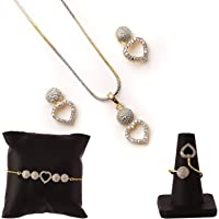 ZENEME Gold-plated and Cubic Zirconia Necklace Pendant Set/ring/bracelet With Earring for Women
