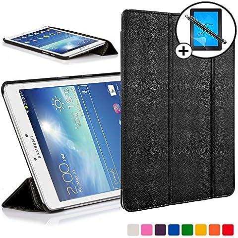 Primer plano Cases - Funda de piel sintética-funda de piel con soporte para tarjetas de memoria Samsung Galaxy Tab 3 8.0 8 GB 3 G + WIFI - Función de auto-sleep-Wake-función - Incluido aguja & Protector de pantalla negro negro Galaxy Tab 3