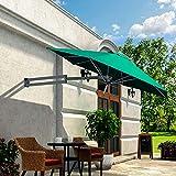 Parasol Mural Cantilever Aluminium LED Solaire Tissu De Polyester Pliant TéLescopique Parapluie De Loisirs en Plein Air Cour/Jardin/Terrasse LDFZ