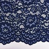 Spitze Stickerei mit Wellen Abschluss beidseitig dunkelblau