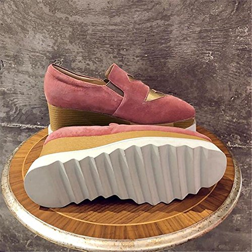Zapatos De Mujer Mocasines Retro En Cuero Estampado Cuadrado Con Cuña 36to40 Rosa