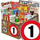 Süßigkeiten Box | DDR Geschenkbox & Markenbuch | Zahl 1 | Geschenke Papa