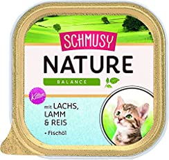 Schmusy Katzenfutter Natures Menü für Kitten mit Lachs 100 g, 16er Pack (16 x 100 g)