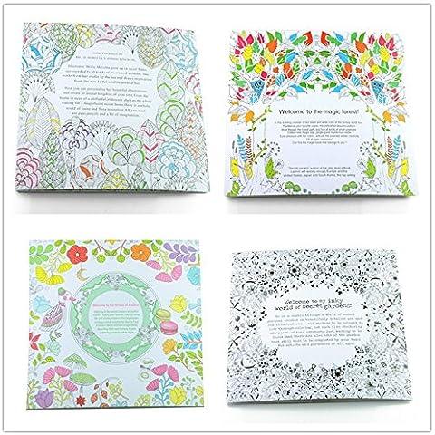4 cuadernos colorear para adultos antiestres relax