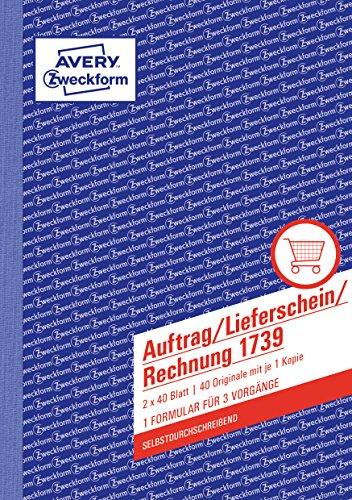 Avery Zweckform 1739 Auftrag/Lieferschein/Rechnung (A5, selbstdurchschreibend, 2x40 Blatt) weiß/gelb
