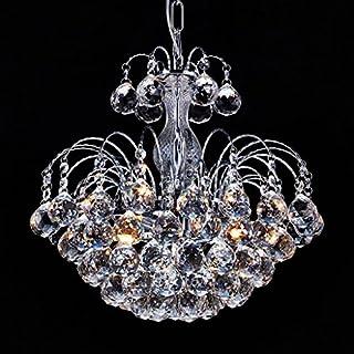 Saint Mossi Modern K9 Crystal Raindrop Chandelier Lighting Flush mount LED Ceiling Light Fixture Pendant Lamp for Dining Room Bathroom Bedroom Livingroom Height 38 cm Width 38 cm