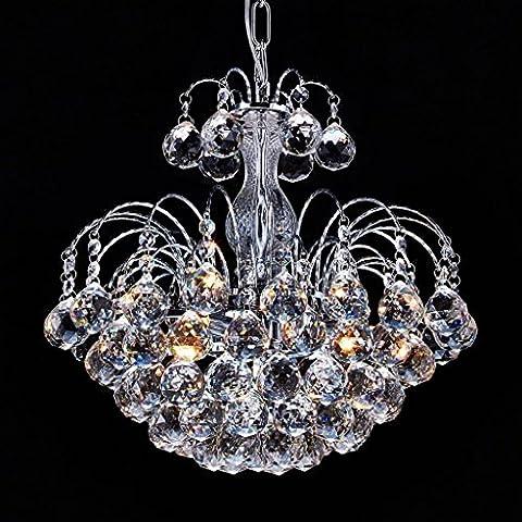 Saint Mossi Modern K9 Crystal Raindrop Chandelier Lighting Flush mount LED Ceiling Light Fixture Pendant Lamp for Dining Room Bathroom Bedroom Livingroom Height 38 cm Width 38