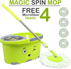Zoyo mop with Bucket/mop / Magic mop/Magic Spin mop and Bucket/Microfiber Cleaning mop/Microfiber mop Head/Magic mop Bucket/Magic Floor mop/Floor Cleaning mop (Color May Vary).