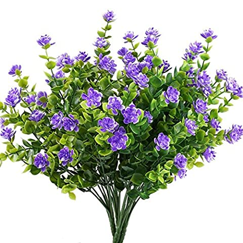 Samidy 3pcs Fake Plants Artificial Greenery Shrubs Eucalyptus Branches with Purple Baby's Breath Flower Plastic Bushes House Office Garden Patio Yard Inddor Outdoor