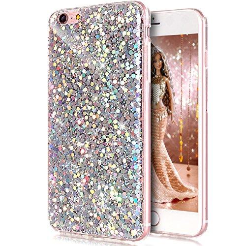 Coque iPhone 7,Étui iPhone 7,iPhone 7 Case,ikasus® Coque iPhone 7 Silicone Étui Housse Téléphone Couverture TPU avec Modèle de diamant brillant paillettes bling brillant diamant glitter Ultra Mince Pr Silver