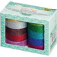 Folia 28509–Glitter Tape, 10rotoli colori assortiti, ruolo ca. 5m X 15mm
