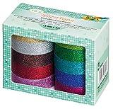 folia 28509 - Glitzer Tape, je Rolle ca. 5 m x 15 mm, 10 Rollen farbig sortiert