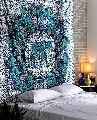 RAJRANG Tapiz Elefante Mandala - Hippie Bohemio Sala Decorativo Etnica India Algodon Decoracion de Navidad - Verde Azulado - 228 x 213 cm