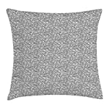 Geometric Throw Pillow Cushion Cover, Tree Dimensional Cube Design with Line Patterns Monochrome Geometric Pattern, Decorative Square Accent Pillow Case, 18 X 18 inches, Black White