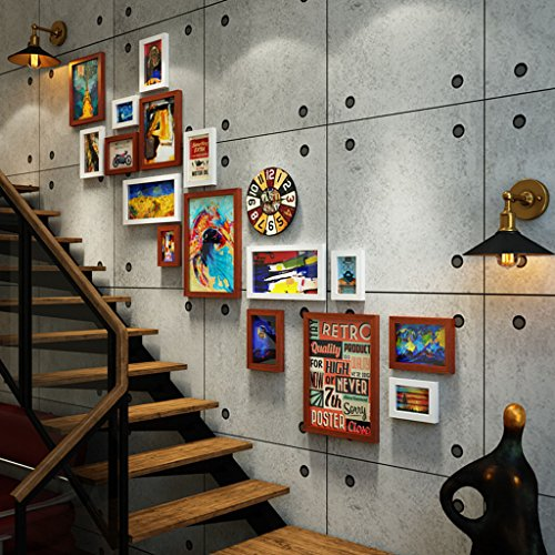Home @ Wall Bilderrahmen Weinlese-altes industrielles Wind-Treppenhaus-Foto-Wand-kreativer Korridor-Wand-Foto-Rahmen-Foto-Wand-Bar-Dekoration ( Farbe : B , größe : 188*144CM )