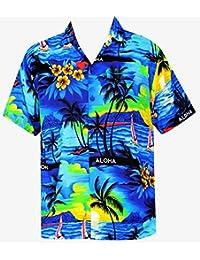 La Leela aloha bleu classique manches courtes hawaïen bouton régulier ajustement des hommes avant de poche vers le bas xs chemise - 5xl