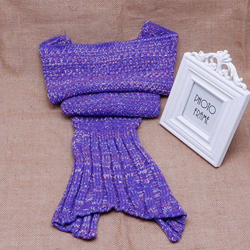 Dairyshop Baby Infant Crocheted Knitted Mermaid Tail Blanket Soft Handmade Bed Bag Cocoon (For Baby (90*50cm), Dark Purple)