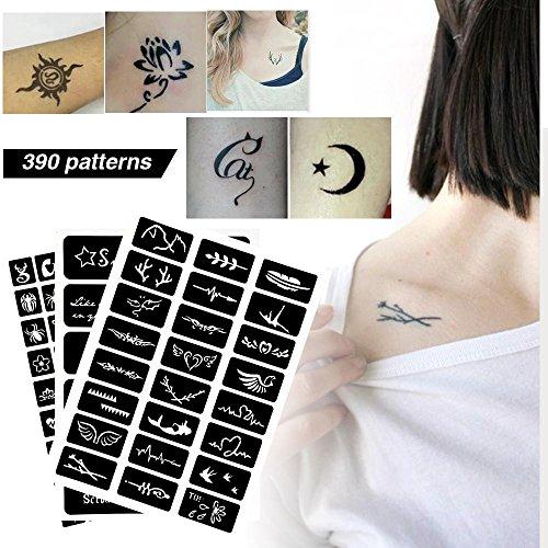 Tattoo Schablone Vorlage, semi-permanente kleine Glitter Blume Schmetterling Cartoon Tattoo Airbrush Vorlage (Semi-tattoo)