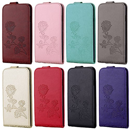 """MOONCASE iPhone 7 Plus Coque, [Embossed Pattern] Card Holster Flip Housse Durable PU Cuir Anti-choc Supports Protection Etui Cases pour iPhone 7 Plus 5.5"""" Violet D'or"""