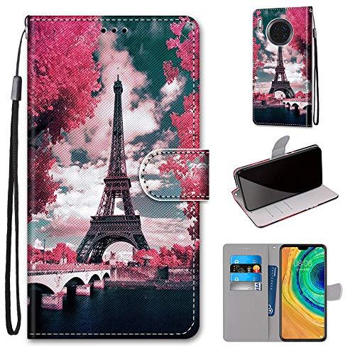 Miagon Flip PU Leder Schutzhülle für Huawei Mate 30,Bunt Muster Hülle Brieftasche Case Cover Ständer mit Kartenfächer Trageschlaufe,Turm Blume