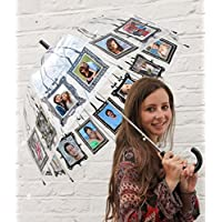 Clippy London Stick Umbrella Clippy Personalised Photo Umbrella Holds 16 Pictures - Adult, Black